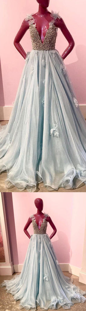 Blue Charming Beaded Top V Neck Affordable Long Prom Dresses, WG798 - Wish Gown