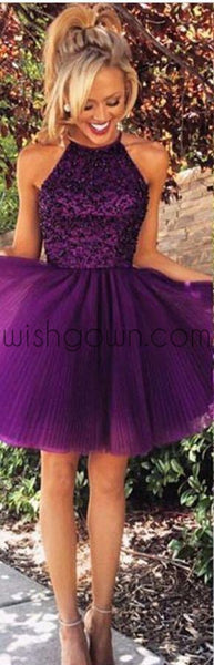 Purple Sexy Open back Halter Beaded Purple homecoming prom dresses, CM0022