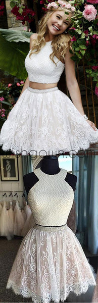 Sexy Two Pieces Halter Lace skirt Pearls bodice Cute homecoming prom dresses, CM0010