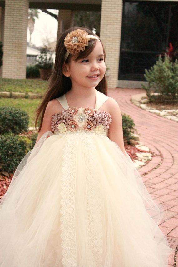 Ivory Tulle Lace Flower Girl Dresses With Satin Flowers, Lovely Cute Tutu Dresses, FG019