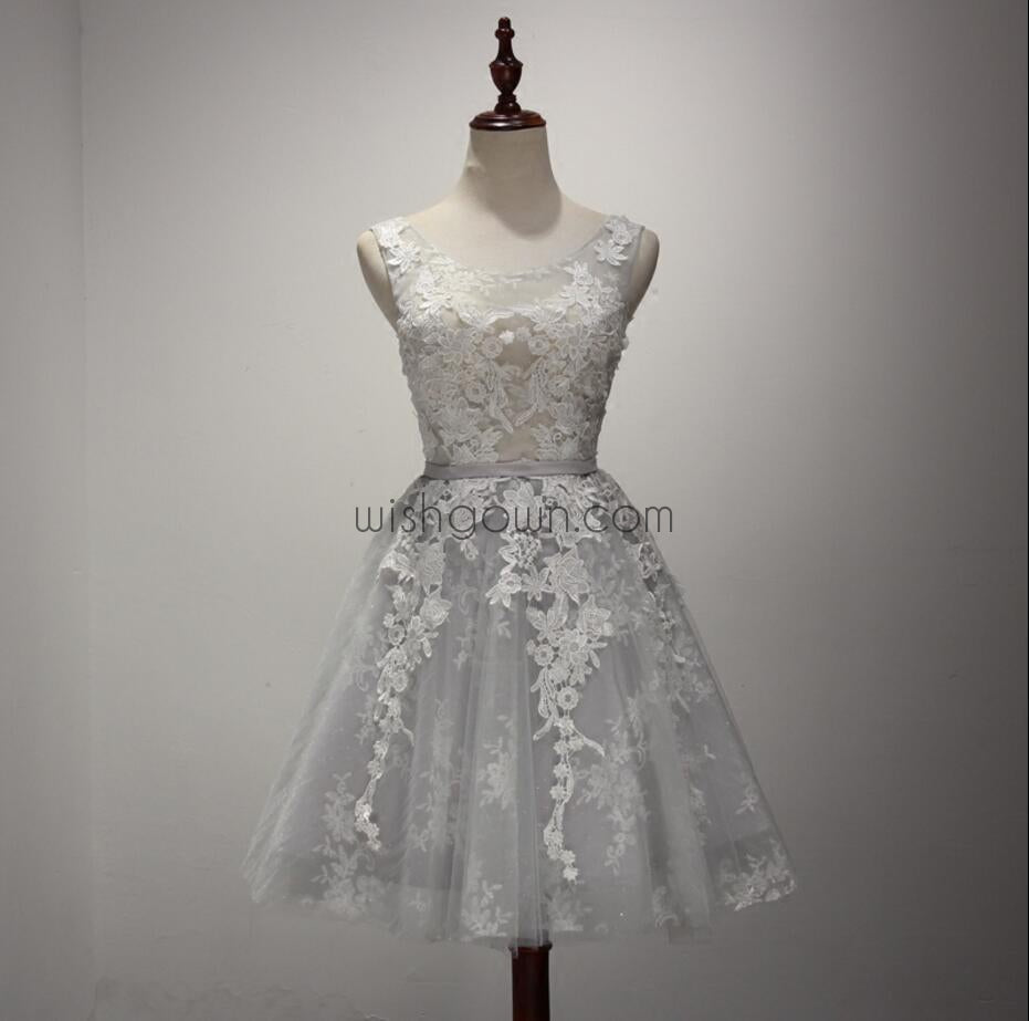 Cute Sliver/Light Grey Unique Applique Pretty Short Homecoming Dresses, WG801