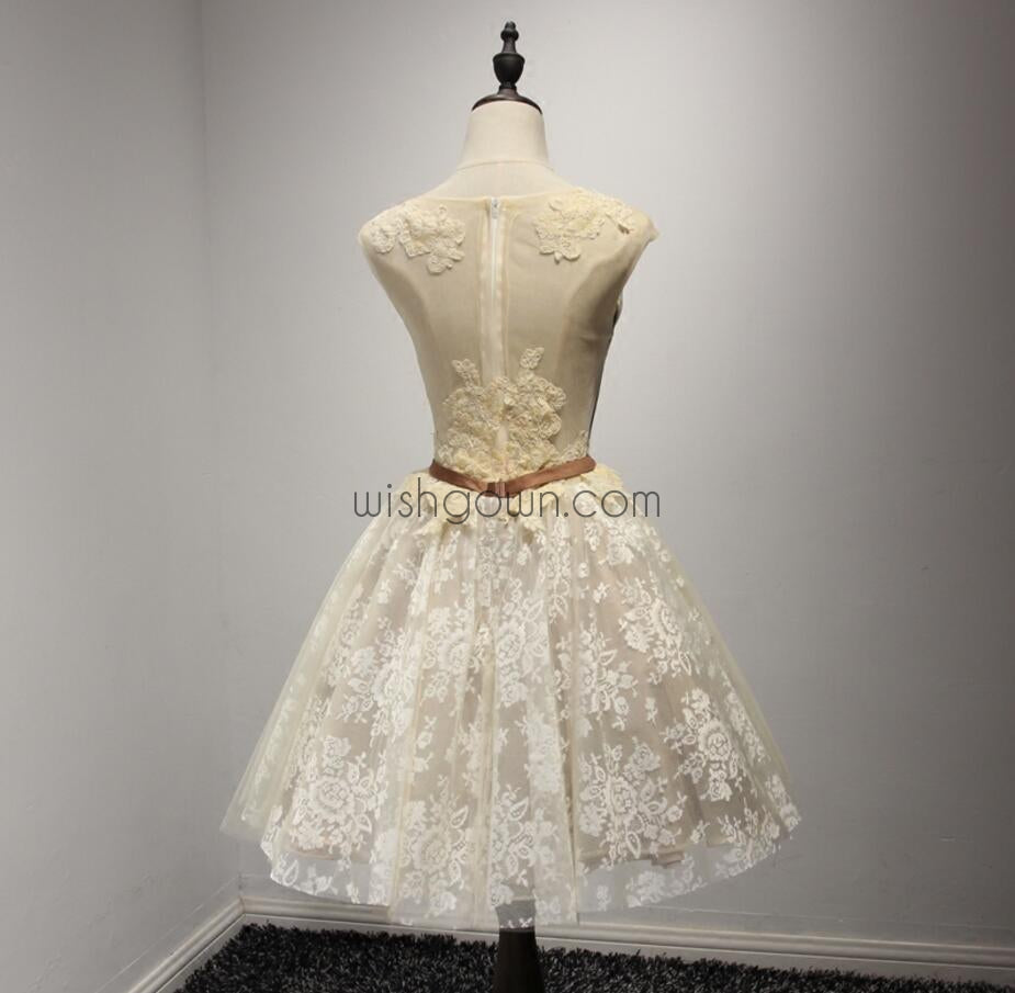 Lace Applique Pretty Short Homecoming Dresses, WG802