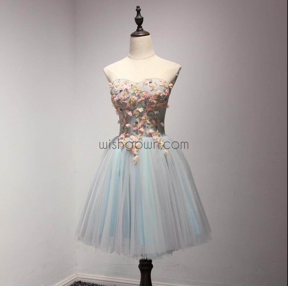 Beautiful Sweet Heart Light Blue Short Homecoming Dresses, WG803