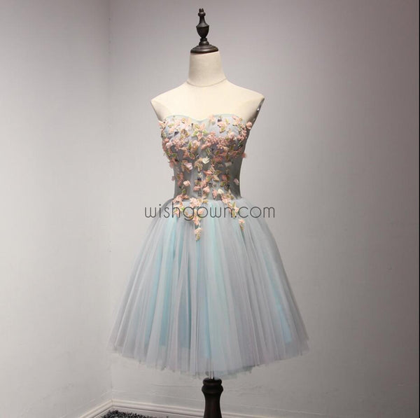 Beautiful Sweet Heart Light Blue Short Homecoming Dresses, WG803 - Wish Gown