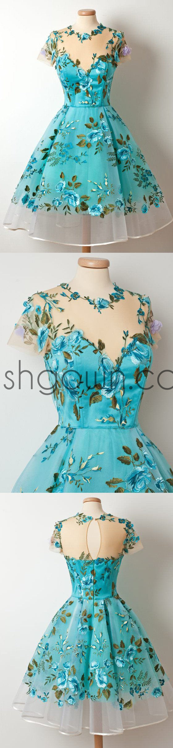 2017 Short Sleeves Unique Applique Blue Short Homecoming Dresses, WG804