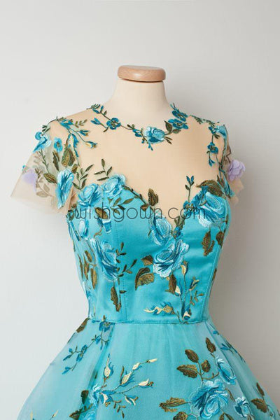 Short Sleeves Unique Applique Blue Short Homecoming Dresses, WG804