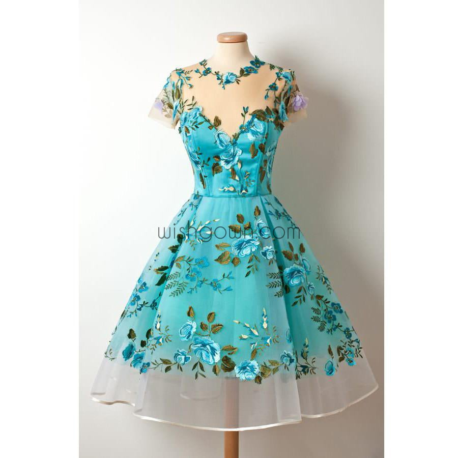 2017 Short Sleeves Unique Applique Blue Short Homecoming Dresses ...