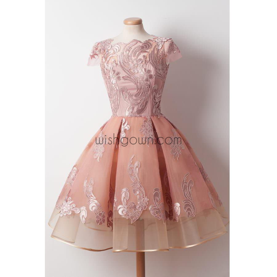 Cap Sleeves Junior Pretty Applique Short Homecoming Dresses, WG805