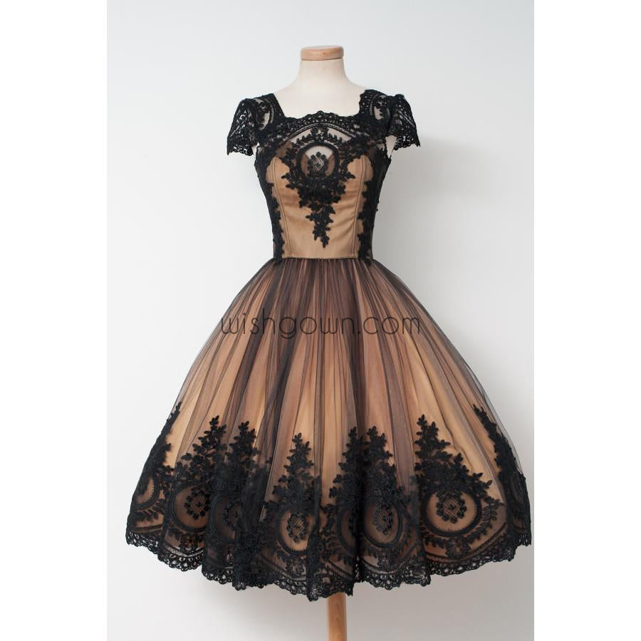 Black Applique Cap Sleeves Pretty Cheap Short Homecoming Dresses, WG806