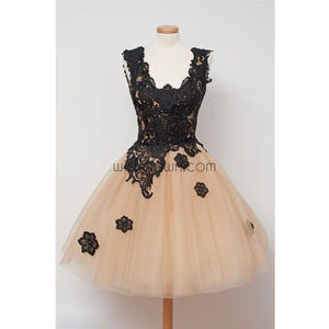 Black Applique Lace Champange Lovely Cheap Short Homecoming Dresses, WG807