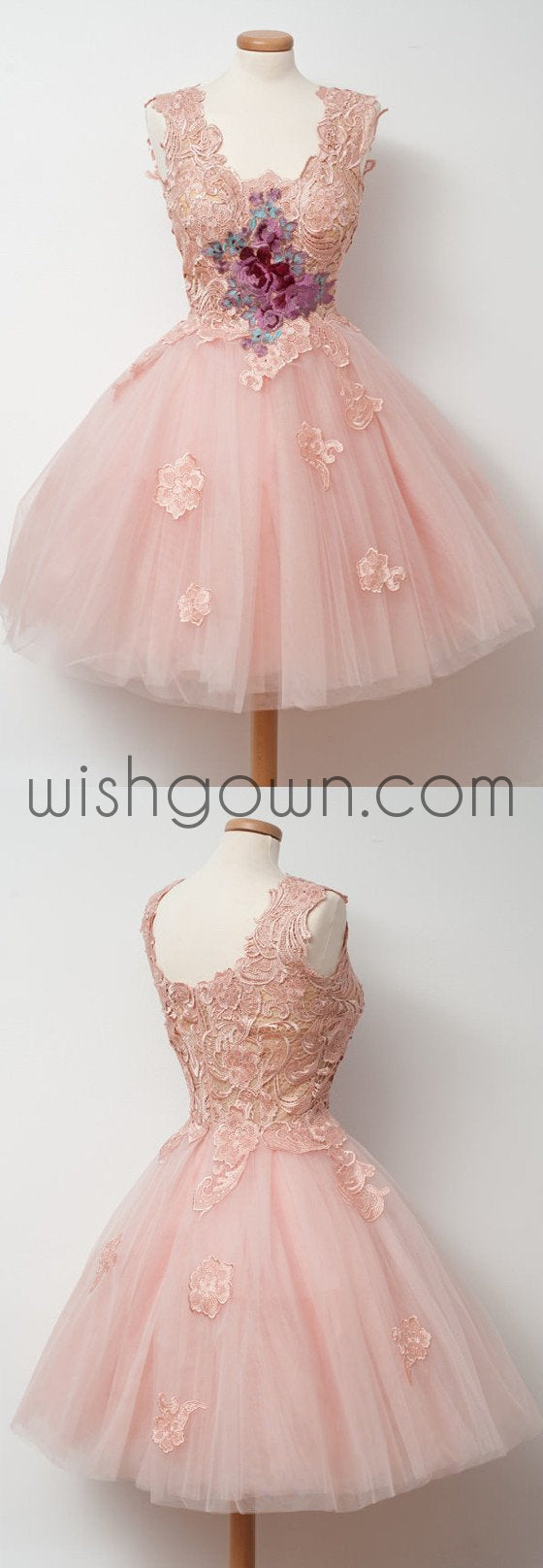 Cute Pink Unique Lace Junior Beautiful Cheap Short Homecoming Dresses, WG808