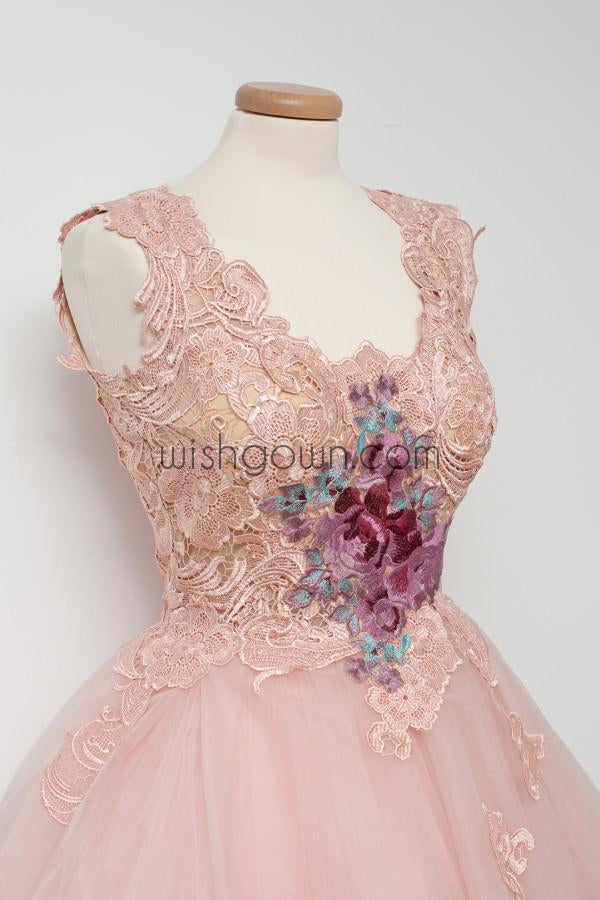 Cute Pink Unique Lace Junior Beautiful Cheap Short Homecoming Dresses, WG808 - Wish Gown
