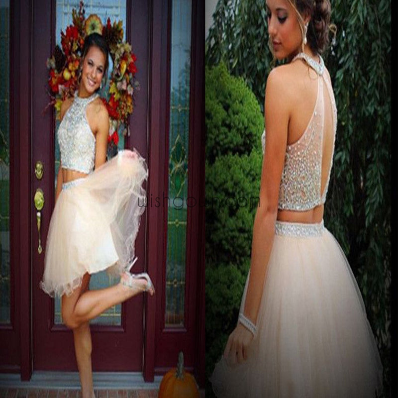 New arrival two pieces open back sparkly freshman homecoming prom dress,BD0081