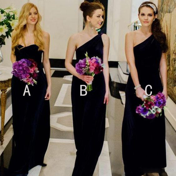 Simple Black Mismatched Wedding Party Long Bridesmaid Dresses Online, PD0084