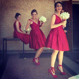 Red Short Simple V Neck Cheap Wedding Party Bridesmaids Dresses, WG361