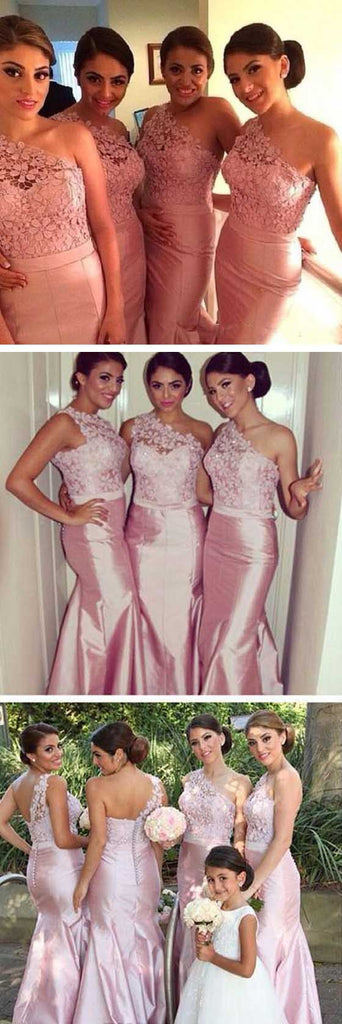 Charming One Shoulder Top Lace Mermaid Sexy Junior Pink On Sale Wedding Party Impressive Long Bridesmaid Dresses, WG93 - Wish Gown