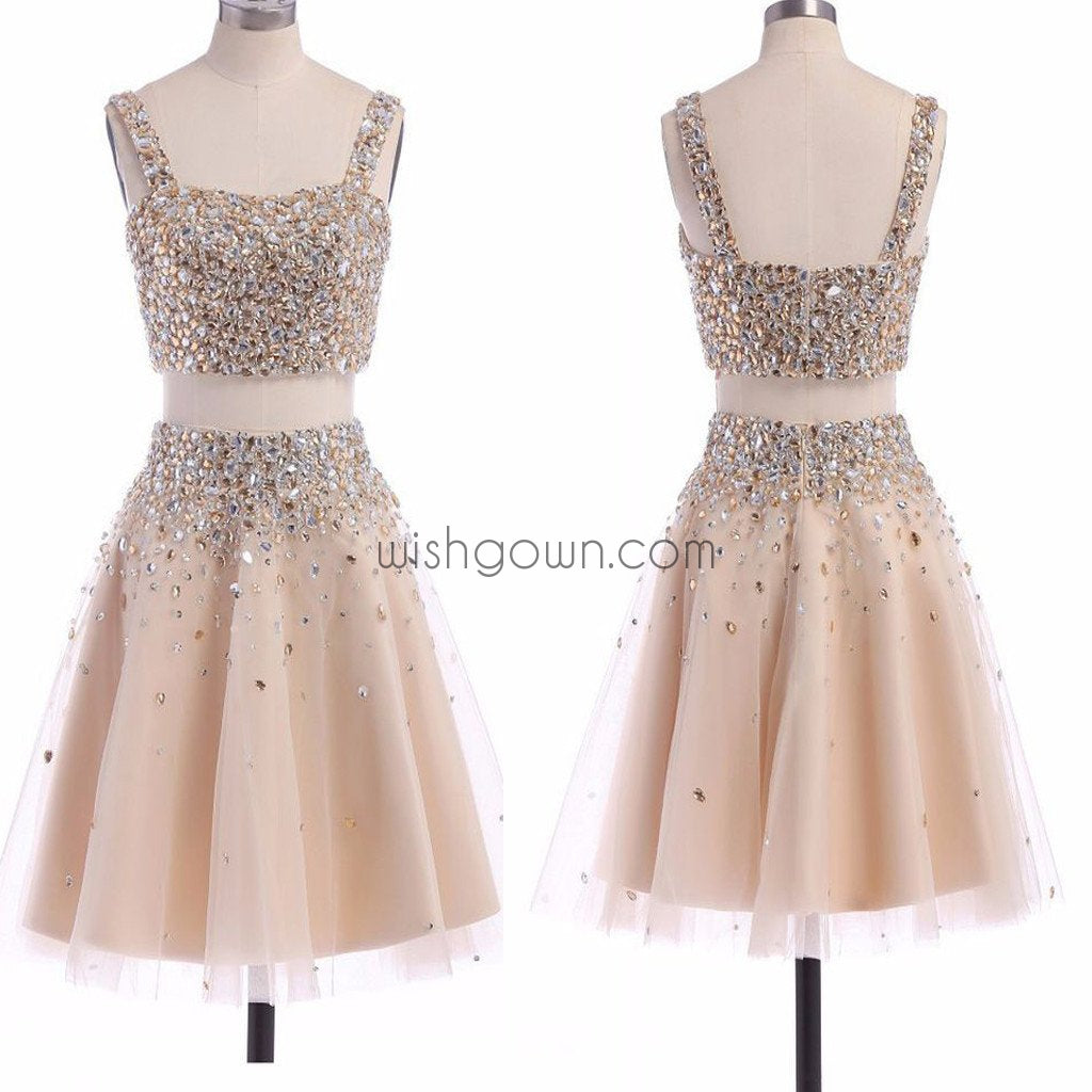 Popular two pieces sparkly unique bling homecoming prom gown dress,BD0098