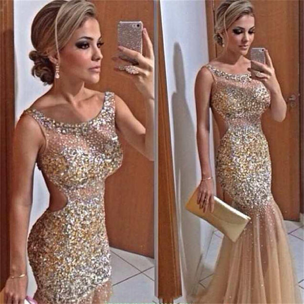 Long Sparkle Backless Charming Sexy Gorgeous Popular Mermaid Evening Prom Dresses Online, PD0100