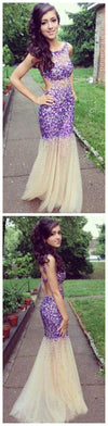 Long Fashion Sparkle Backless Popular Mermaid Evening Prom Dresses Online, PD0101