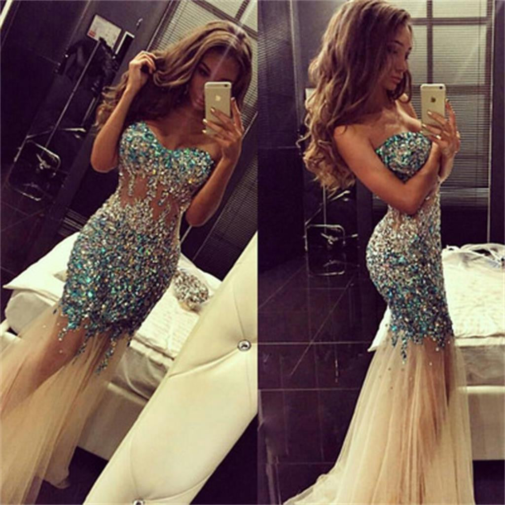 See Through Mermaid Long Gorgeous Shinning Sexy Evening Prom Dresses, PD0103