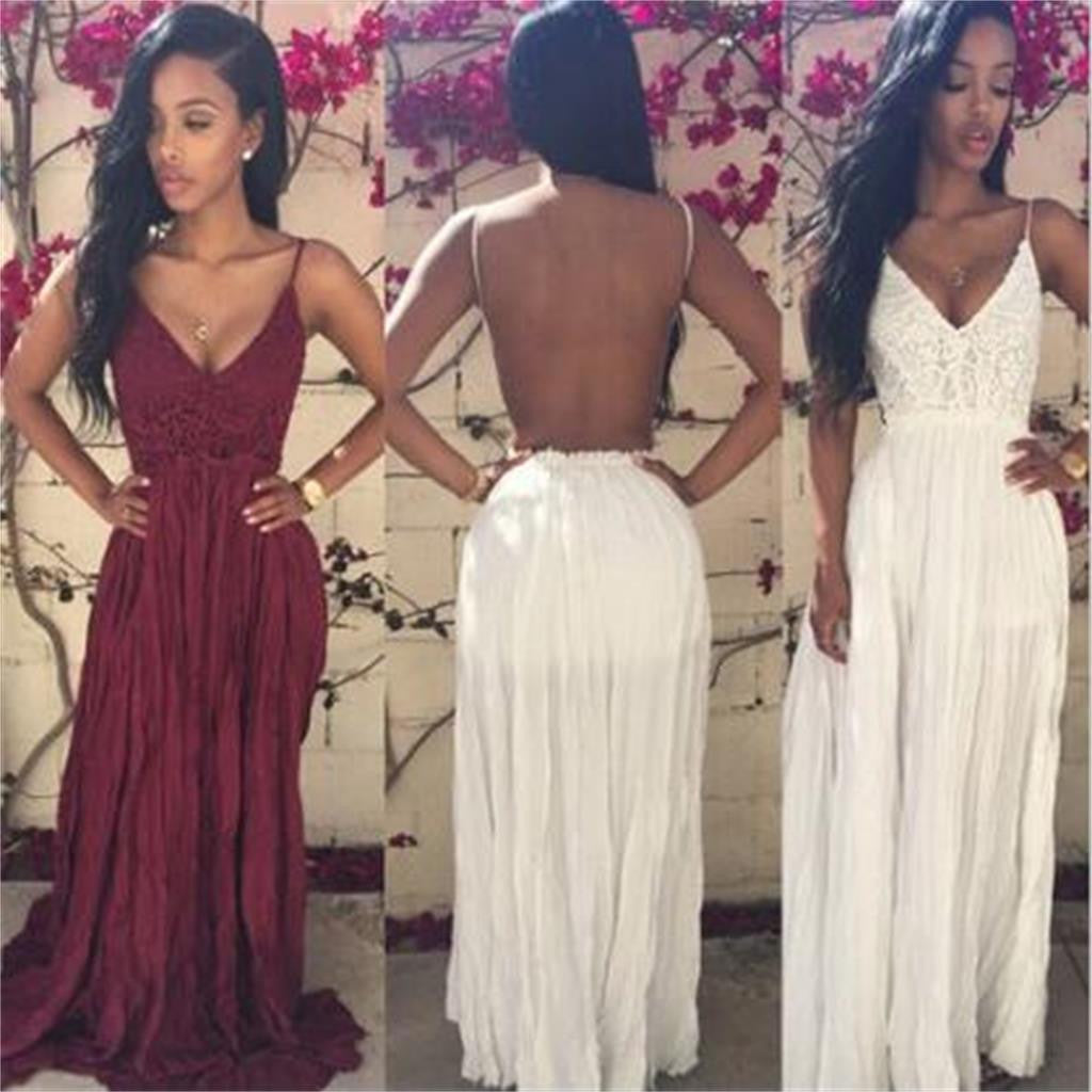 Backless Cheap Long V-neck Sexy Evening Prom Dresses Online, PD0104 - Wish Gown