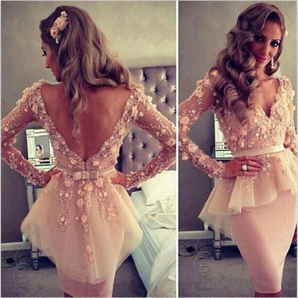 Long Sleeves V-Neck Open Back Unique Design Pretty Short Evening Party Prom Dresses, PD0105