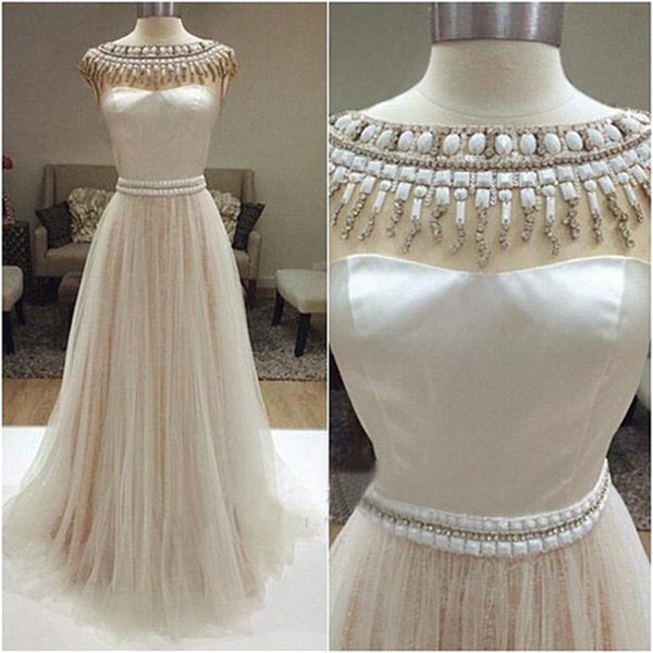 Long Charming Cap Sleeve Beading Gorgeous Cheap Tulle Evening Prom Dresses Online, PD0106