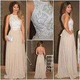 Seen-through Back Long Formal Cheap Popular Evening Beaded Prom Dresses Online, PD0107
