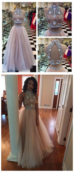 Two Piece High Neck Pretty Open Back Popular Fashion Charming Long Prom Dresses Online, PD0115