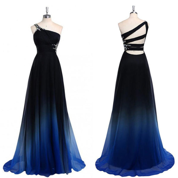 Chiffon Cheap One Shoulder Backless Gradient Black Blue Popular Unique Pretty Prom Dresses, PD0122