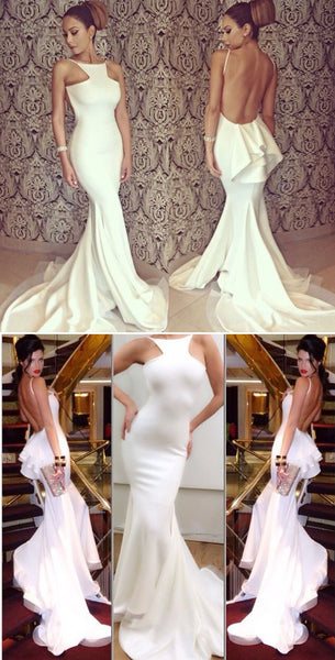 Sexy Backless Mermaid Elegant Formal Party Ivory Evening Long Prom Dress, PD0129