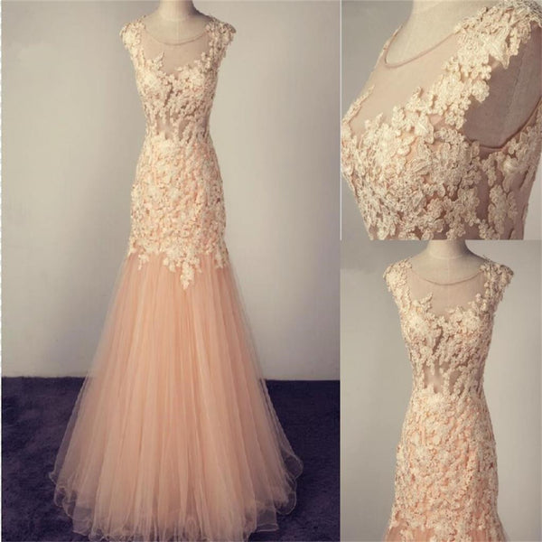 Scoop Tulle Lace Appliques Charming Popular Pretty Evening Long Prom Dress, PD0138