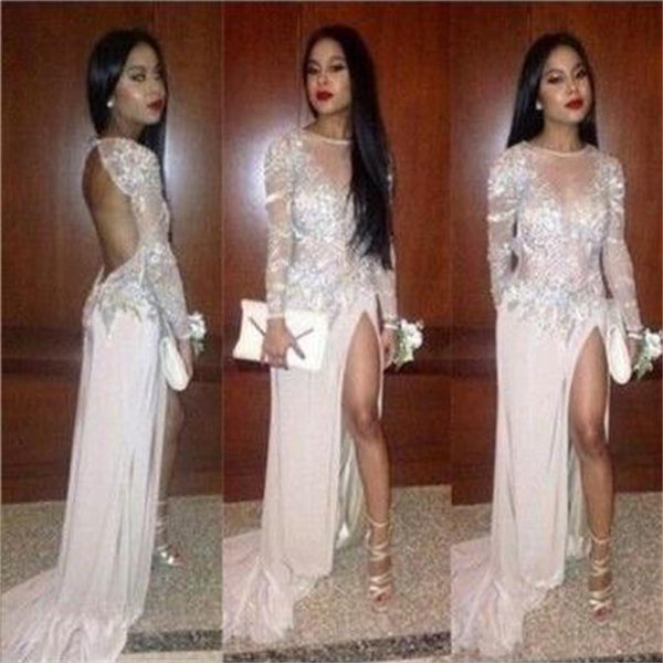 Sexy Popular Junior Pretty Long Sleeve Open Back Side Split Inexpensive Long Prom Dresses, PD0014