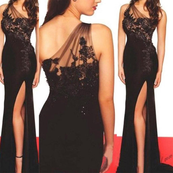 One Shoulder Side Slit Formal Sexy Cheap Black Lace Evening Long Prom Dress, PD0148