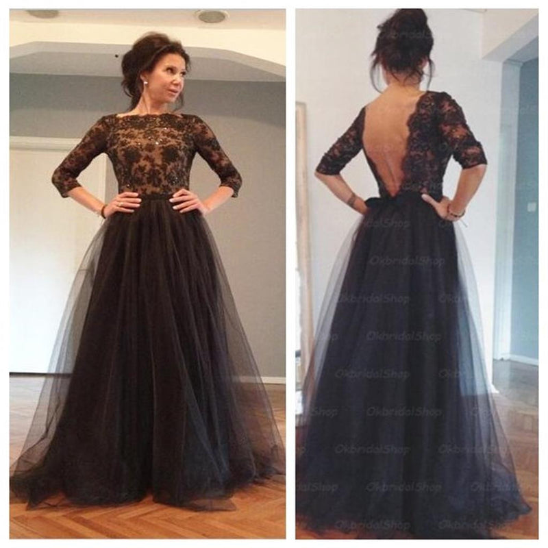 Elegant Women Black Lace Long Sleeves Backless Party Prom Long Evening Dress, PD0015