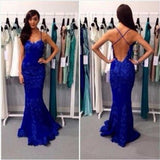 Spaghetti Straps Mermaid Royal Blue Lace Backless Evening Long Prom Dress, PD0150