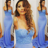 Spaghetti Straps Mermaid Blue Lace Sexy Evening Cheap Long Prom Dress, PD0151