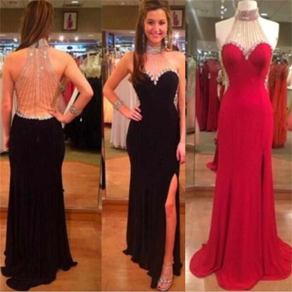 Unique Side Slit High Neck Beaded Sexy Black On Sale Evening Long Prom Dress, PD0155