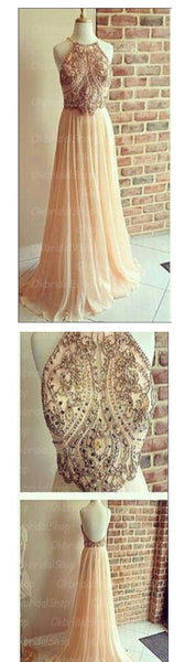 Popular Backless A-line Chiffon Cocktail Evening Long Prom Dresses Online, PD0159