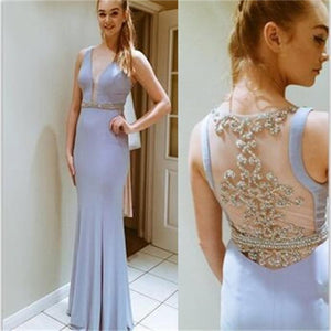 Young Deep V-Neck See-through Back Mermaid Pretty Cheap Long Prom Dress, PD0157