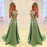 Deep V-Neck Stunning A-line Sexy Fashion Green Evening Long Prom Dress, PD0160 - Wish Gown