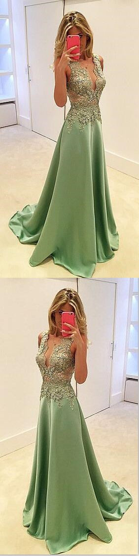 Deep V-Neck Stunning A-line Sexy Fashion Green Evening Long Prom Dress, PD0160