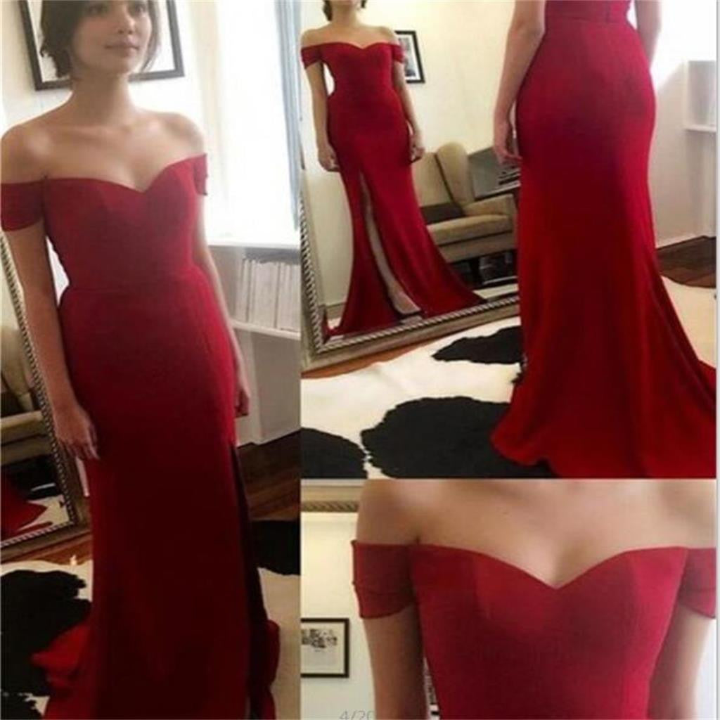 Red Off Shoulder Side Slit New Arrival Mermaid Simple Cheap Long Prom Dress, PD0164