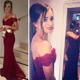 Burgundy Off Shoulder Mermaid Best Sales Inexpensive Lace Long Prom Party Dresses for wedding, PD0165