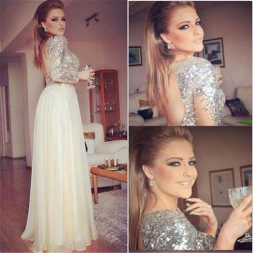 Long Sleeves Sequined Open Back A Line Formal Cheap Evening Party Long Prom Dress, PD0172