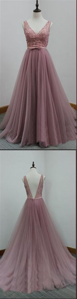 V-Back Tulle A-line Discount Formal Evening Party Cheap Long Prom Dress, PD0173