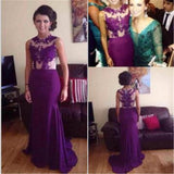 Purple High Neck Mermaid Stunning Purple Sexy Cheap Lace Evening Long Prom Dress, PD0177