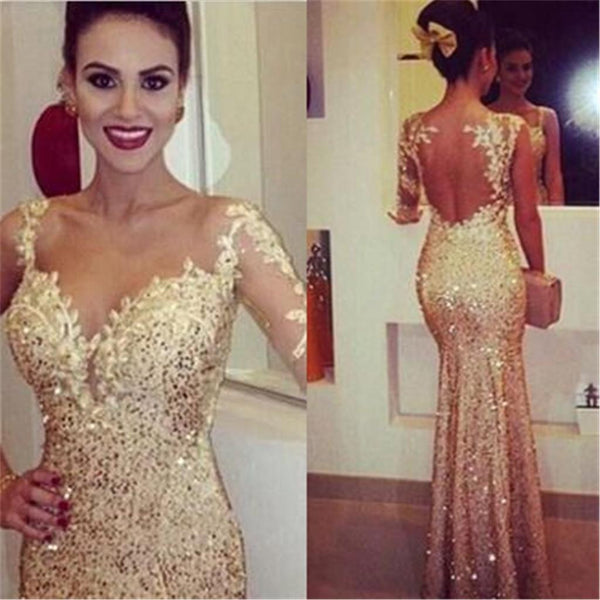 Yellow Sexy Mermaid See Through Back One Shoulder Long Sleeve Shinning Long Prom Evening Dresses, PD0178