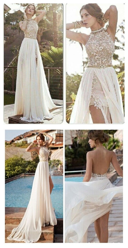 Popular Backless Sexy High Neck Side Slit Ivory Inexpensive Lace Evening Party Long Prom Dresses, PD0018