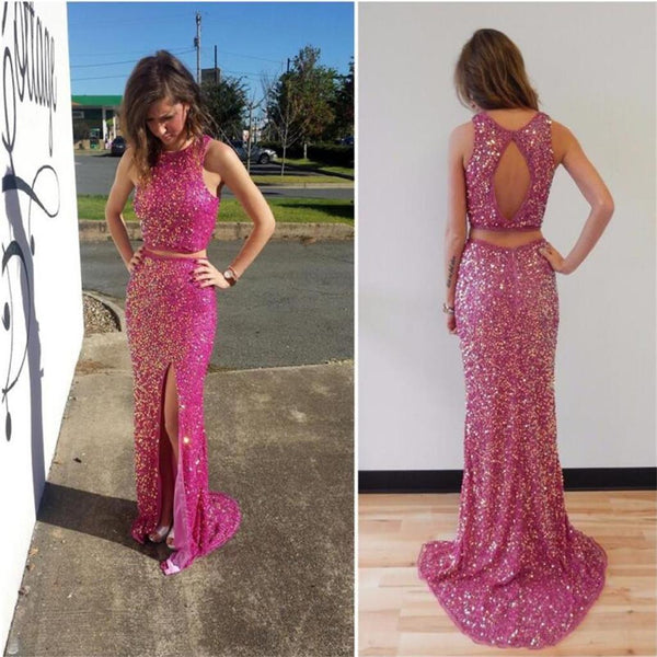 Two Pieces Sparkle Sequin Side Slit Open Back Evening Cheap Long Prom Dress, PD0180